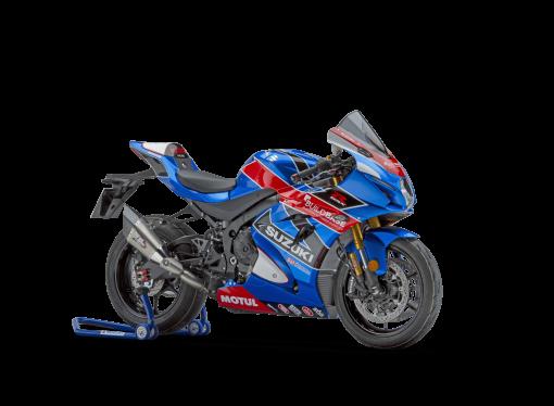 Suzuki GSX R1000R Buildbase motorbike - blue front facing right